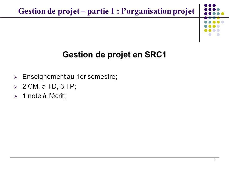 Gestion de projet – partie 1 : lorganisation projet 1 Gestion de projet en SRC1 Enseignement au 1er semestre; 2 CM, 5 TD, 3 TP; 1 note à lécrit;