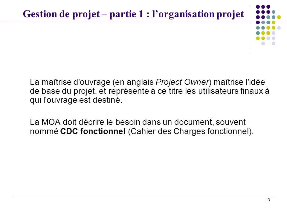 Gestion de projet – partie 1 : lorganisation projet 13 La maîtrise d'ouvrage (en anglais Project Owner) maîtrise l'idée de base du projet, et représen