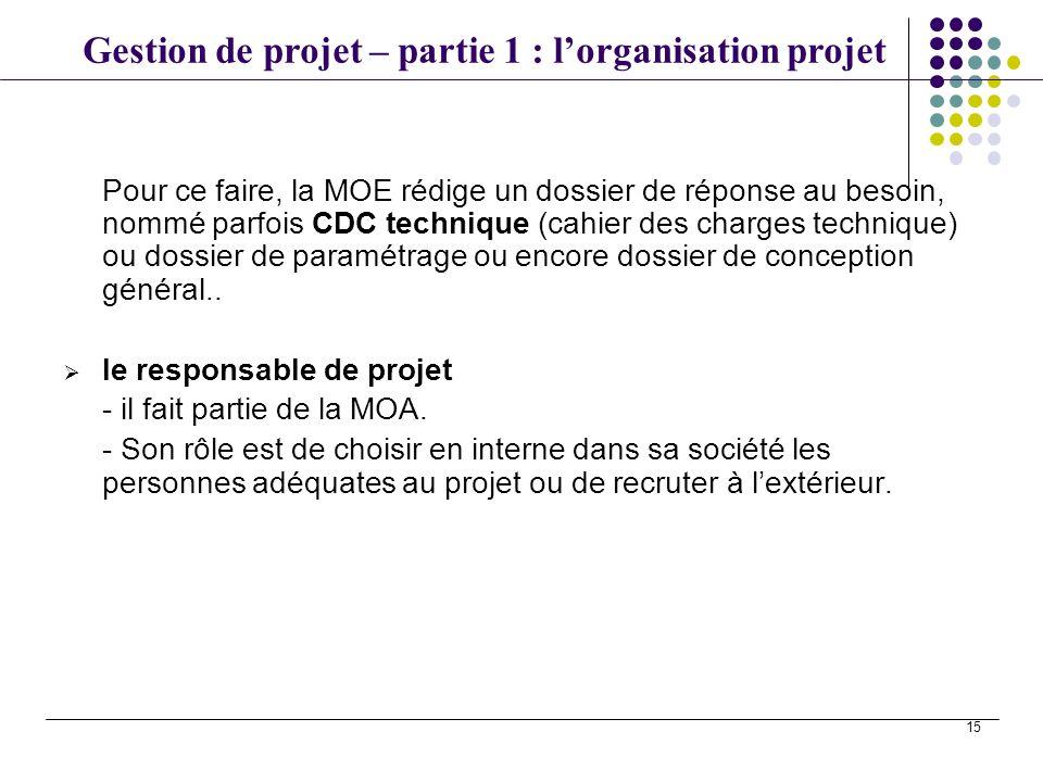 Gestion de projet – partie 1 : lorganisation projet 15 Pour ce faire, la MOE rédige un dossier de réponse au besoin, nommé parfois CDC technique (cahi