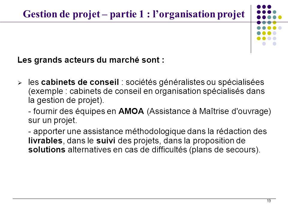 Gestion de projet – partie 1 : lorganisation projet 19 Les grands acteurs du marché sont : les cabinets de conseil : sociétés généralistes ou spéciali