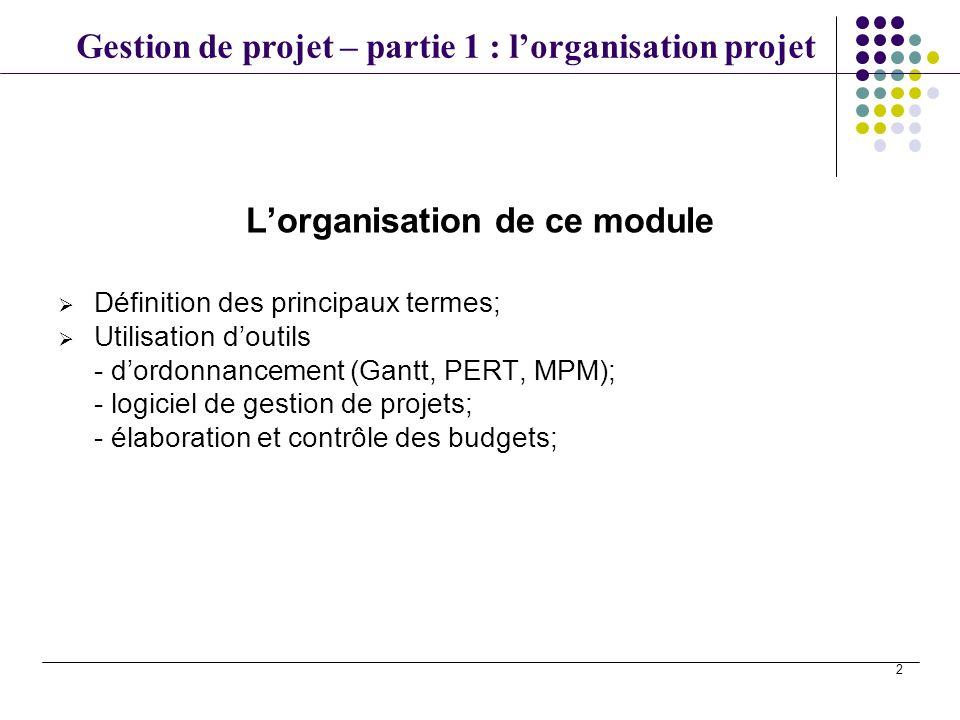 Gestion de projet – partie 1 : lorganisation projet 2 Lorganisation de ce module Définition des principaux termes; Utilisation doutils - dordonnanceme