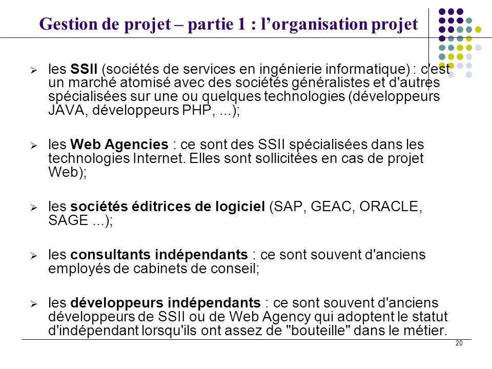 Gestion de projet – partie 1 : lorganisation projet 20 les SSII (sociétés de services en ingénierie informatique) : c'est un marché atomisé avec des s