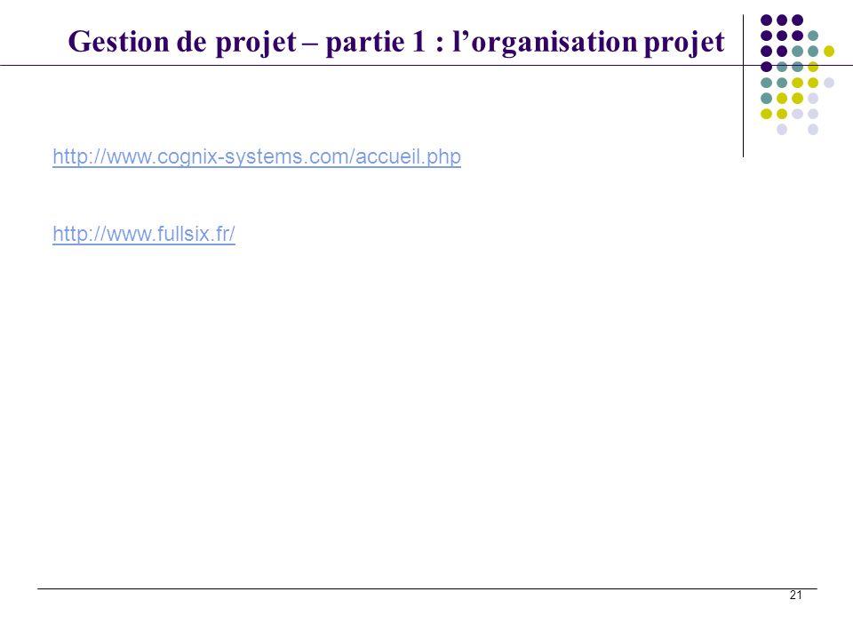 Gestion de projet – partie 1 : lorganisation projet 21 http://www.cognix-systems.com/accueil.php http://www.fullsix.fr/