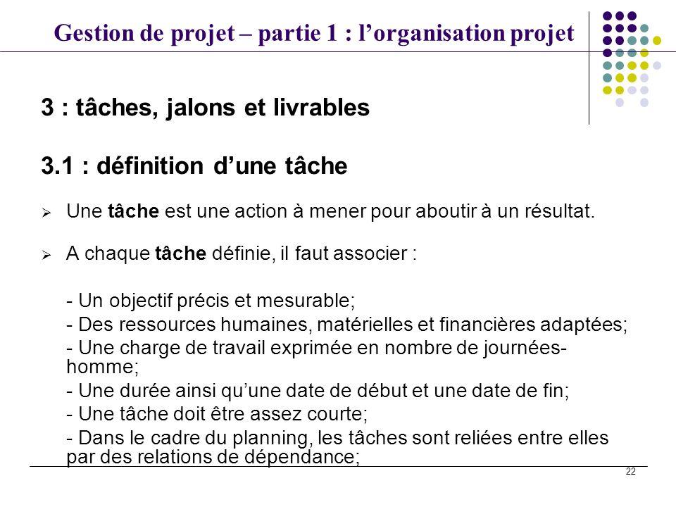 Gestion de projet – partie 1 : lorganisation projet 22 Une tâche est une action à mener pour aboutir à un résultat. A chaque tâche définie, il faut as