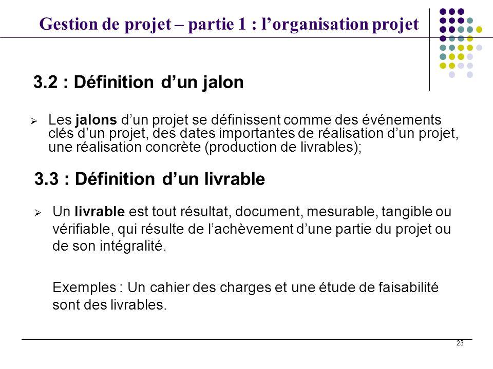 Gestion de projet – partie 1 : lorganisation projet 23 Les jalons dun projet se définissent comme des événements clés dun projet, des dates importante