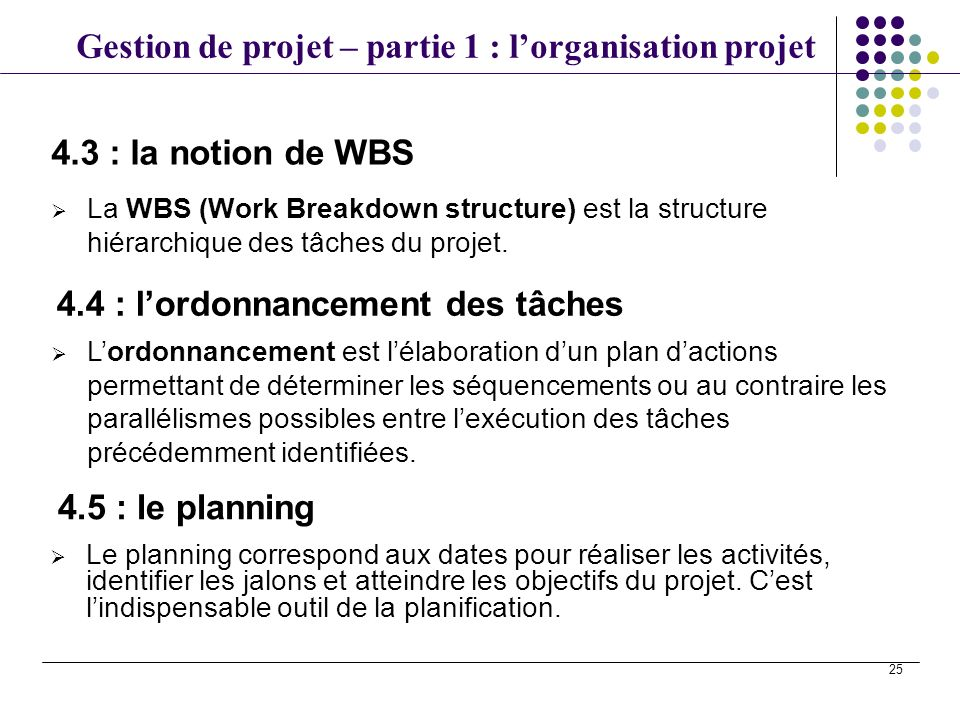 Gestion de projet – partie 1 : lorganisation projet 25 La WBS (Work Breakdown structure) est la structure hiérarchique des tâches du projet. 4.3 : la