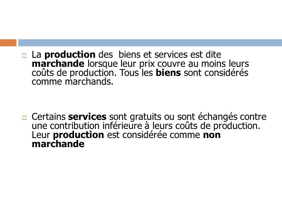 La production des biens et services est dite marchande lorsque leur prix couvre au moins leurs coûts de production. Tous les biens sont considérés com