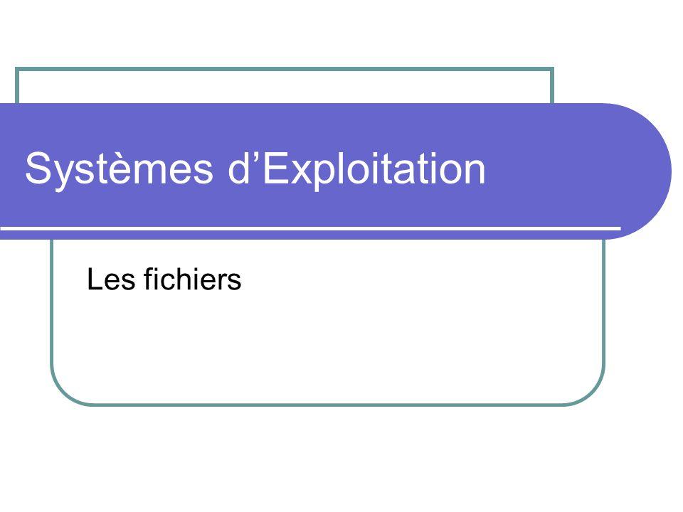 EXT2fs Systèmes dexploitation : Linux Gestion de la fragmentation : Avant décrire, le système cherche une place de la même taille que le fichier Taille maximum : 4 To Noms de fichiers : 1012 caractères sans restrictions Sécurisé