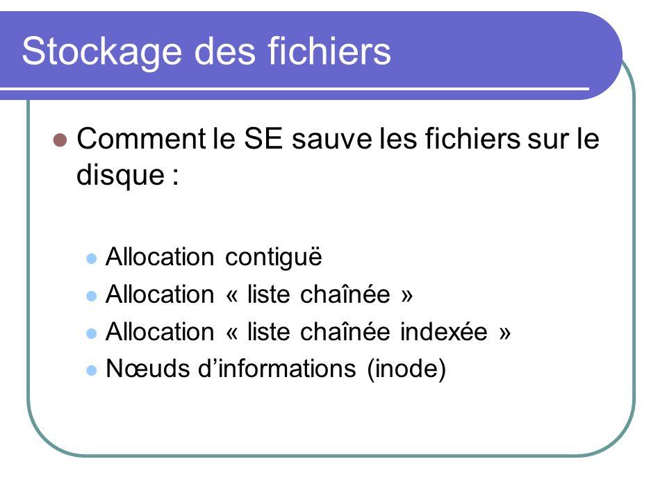 Stockage des fichiers Comment le SE sauve les fichiers sur le disque : Allocation contiguë Allocation « liste chaînée » Allocation « liste chaînée ind