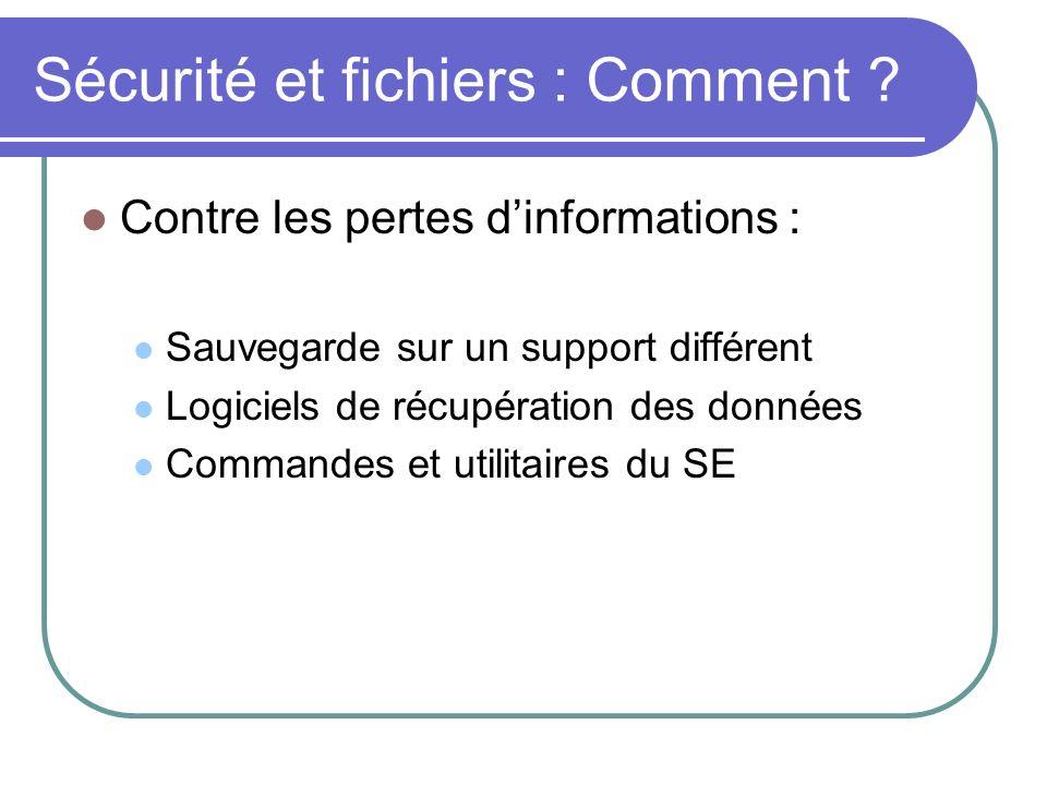 Sécurité et fichiers : Comment ? Contre les pertes dinformations : Sauvegarde sur un support différent Logiciels de récupération des données Commandes