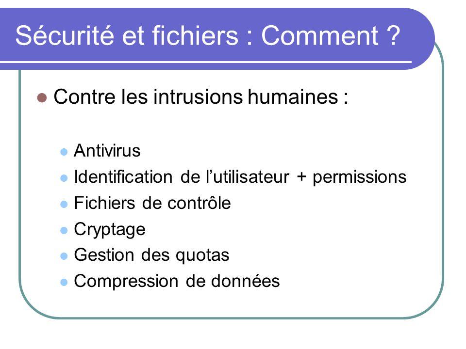 Sécurité et fichiers : Comment ? Contre les intrusions humaines : Antivirus Identification de lutilisateur + permissions Fichiers de contrôle Cryptage
