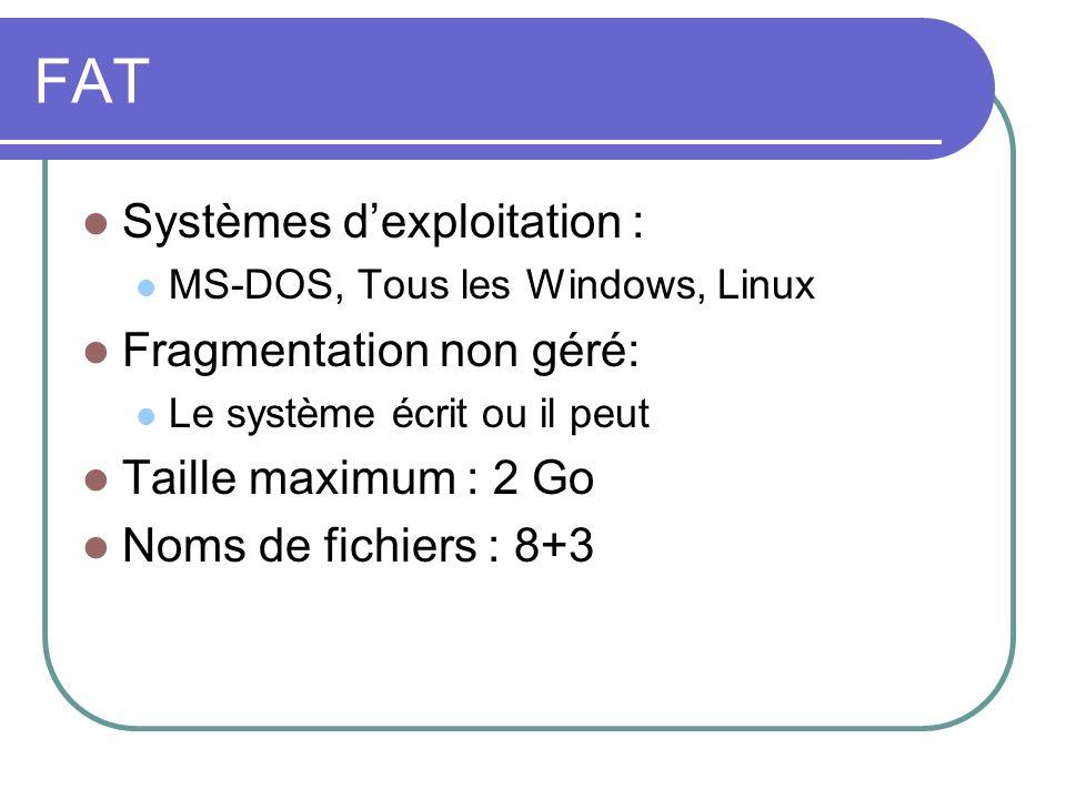 FAT Systèmes dexploitation : MS-DOS, Tous les Windows, Linux Fragmentation non géré: Le système écrit ou il peut Taille maximum : 2 Go Noms de fichier