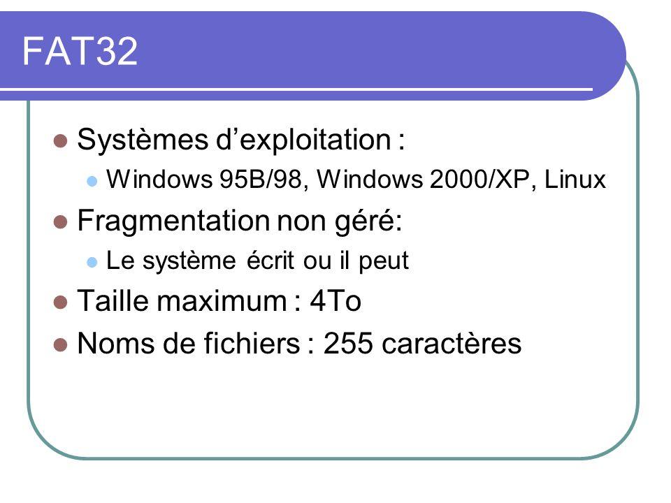 FAT32 Systèmes dexploitation : Windows 95B/98, Windows 2000/XP, Linux Fragmentation non géré: Le système écrit ou il peut Taille maximum : 4To Noms de