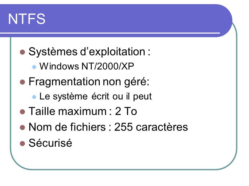NTFS Systèmes dexploitation : Windows NT/2000/XP Fragmentation non géré: Le système écrit ou il peut Taille maximum : 2 To Nom de fichiers : 255 carac