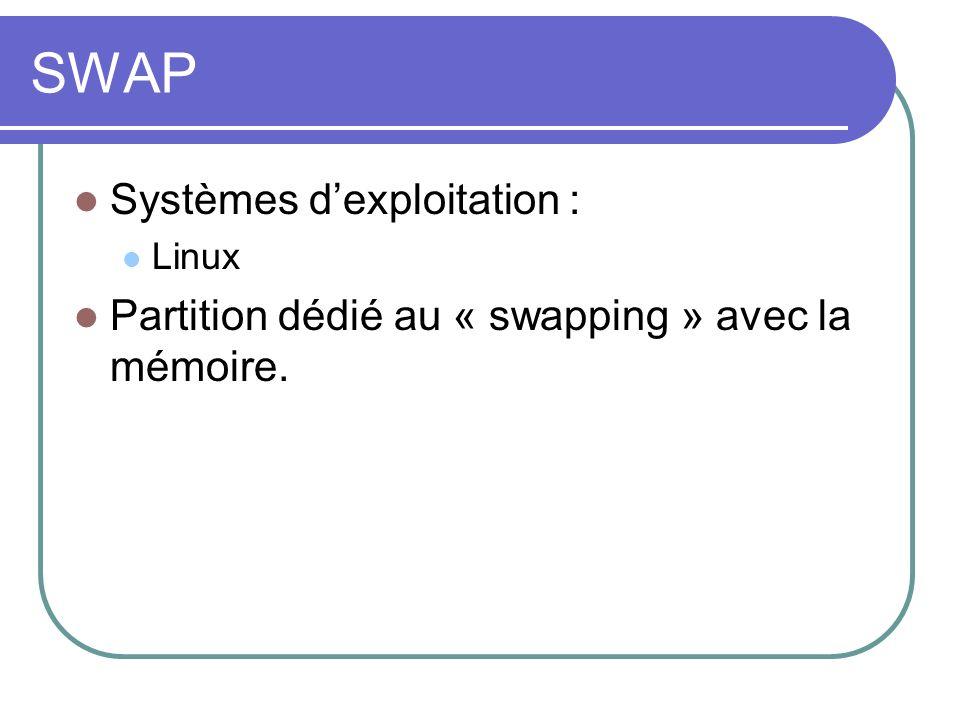 SWAP Systèmes dexploitation : Linux Partition dédié au « swapping » avec la mémoire.
