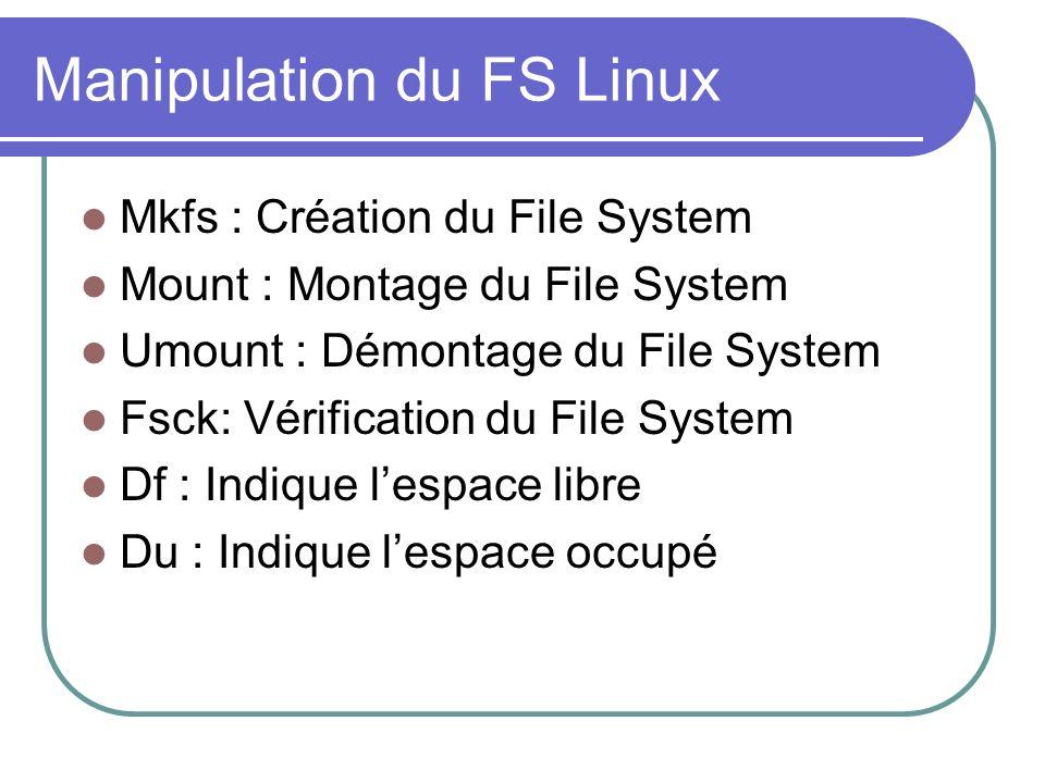Manipulation du FS Linux Mkfs : Création du File System Mount : Montage du File System Umount : Démontage du File System Fsck: Vérification du File Sy