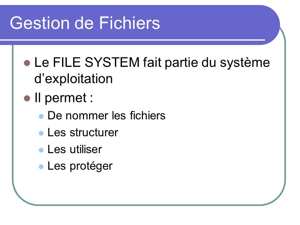 Gestion de Fichiers Le FILE SYSTEM fait partie du système dexploitation Il permet : De nommer les fichiers Les structurer Les utiliser Les protéger