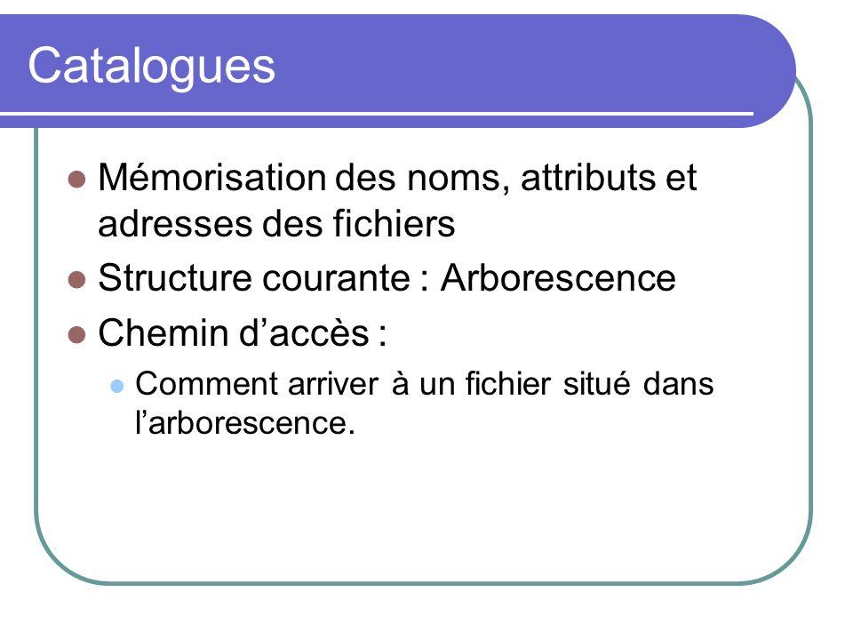Catalogues Mémorisation des noms, attributs et adresses des fichiers Structure courante : Arborescence Chemin daccès : Comment arriver à un fichier si