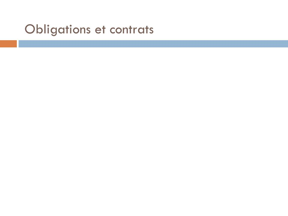 Obligations et contrats 1