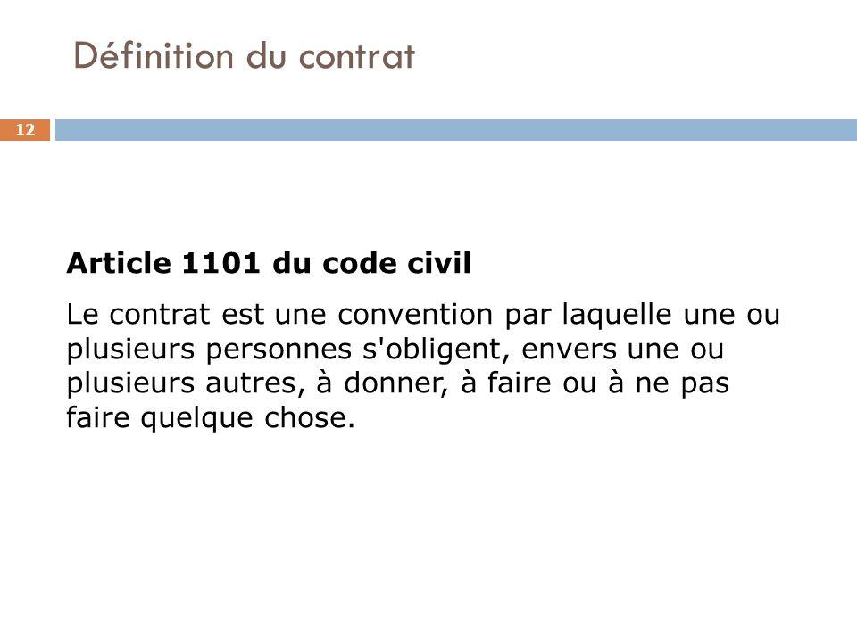 Définition du contrat 12 Article 1101 du code civil Le contrat est une convention par laquelle une ou plusieurs personnes s'obligent, envers une ou pl