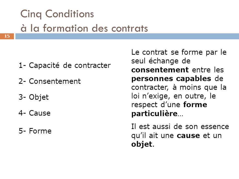 Cinq Conditions à la formation des contrats 15 1- Capacité de contracter 2- Consentement 3- Objet 4- Cause 5- Forme Le contrat se forme par le seul éc