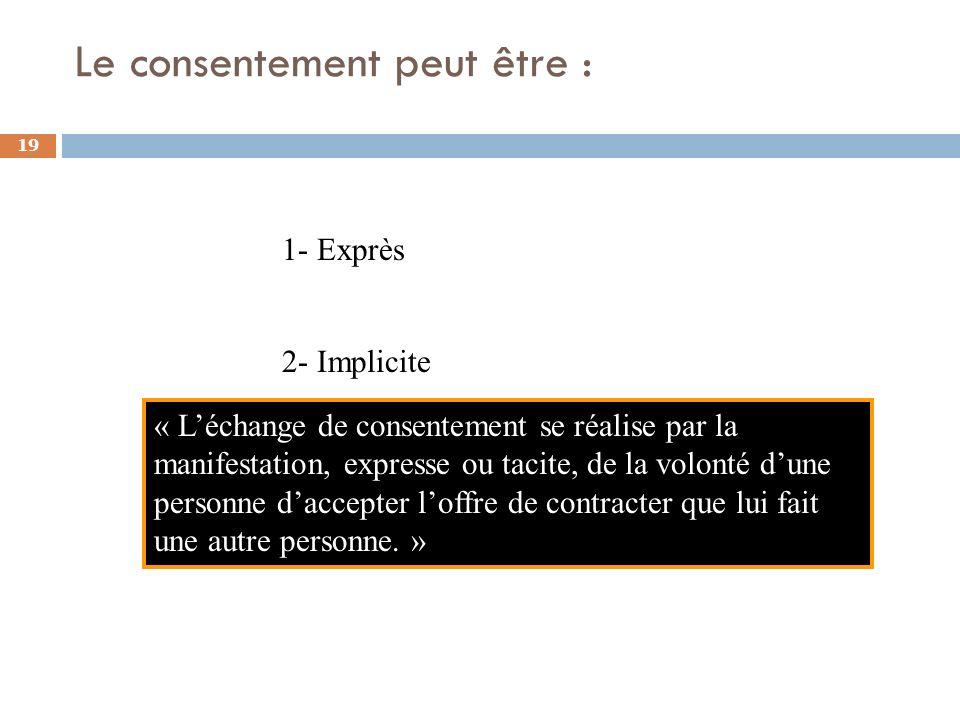 Le consentement peut être : 19 1- Exprès 2- Implicite « Léchange de consentement se réalise par la manifestation, expresse ou tacite, de la volonté du