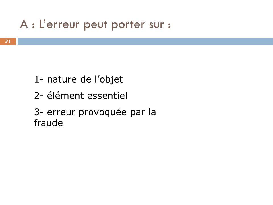 A : Lerreur peut porter sur : 21 1- nature de lobjet 2- élément essentiel 3- erreur provoquée par la fraude