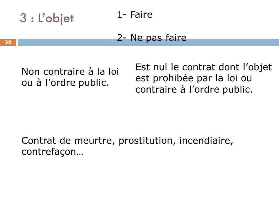 3 : Lobjet 28 1- Faire 2- Ne pas faire Est nul le contrat dont lobjet est prohibée par la loi ou contraire à lordre public. Non contraire à la loi ou
