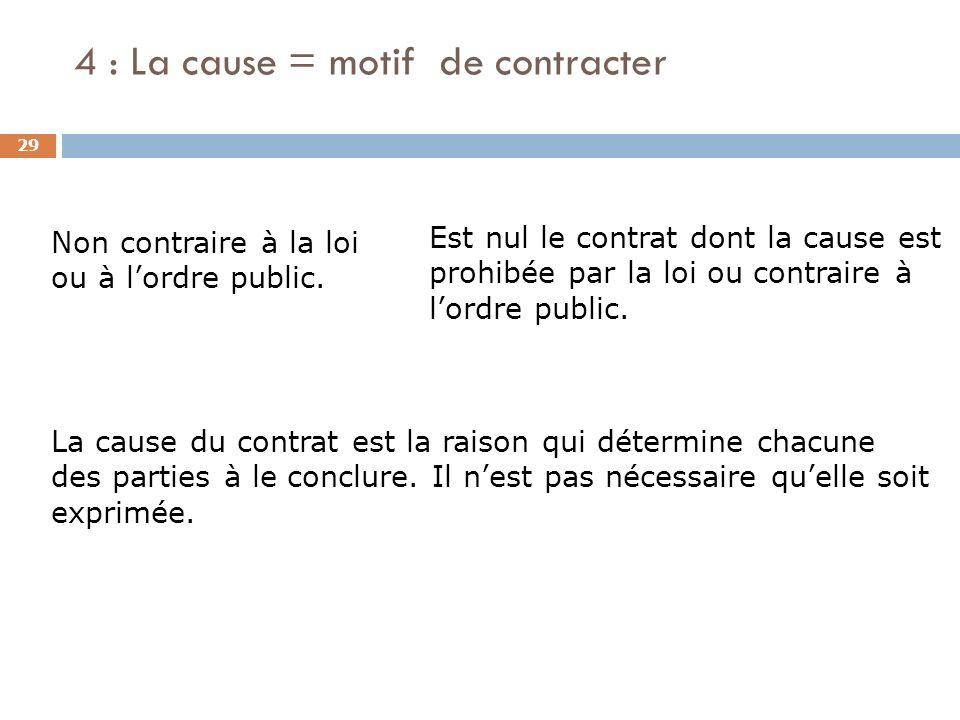4 : La cause = motif de contracter 29 Non contraire à la loi ou à lordre public. La cause du contrat est la raison qui détermine chacune des parties à