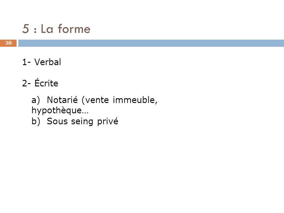 5 : La forme 30 1- Verbal 2- Écrite a) Notarié (vente immeuble, hypothèque… b) Sous seing privé