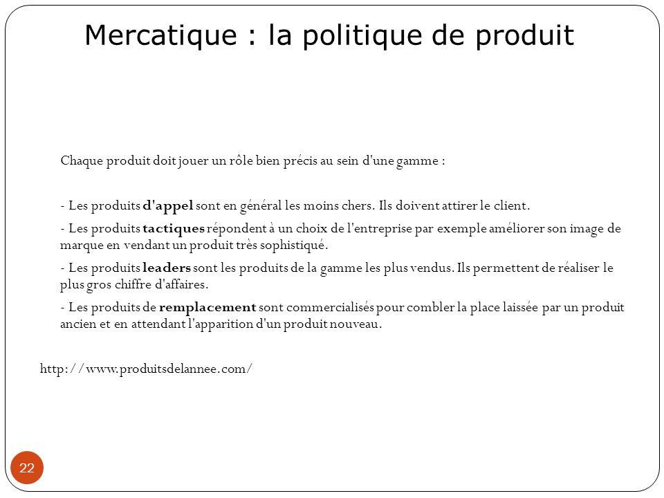 Mercatique : la politique de produit 22 Chaque produit doit jouer un rôle bien précis au sein d'une gamme : - Les produits d'appel sont en général les