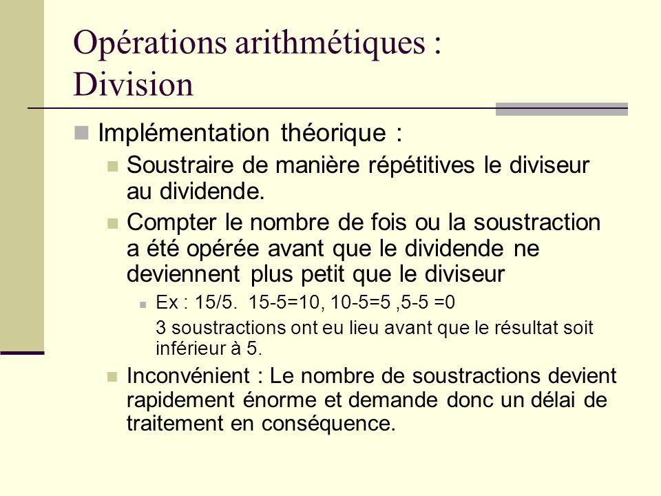 Opérations arithmétiques : Division Implémentation théorique : Soustraire de manière répétitives le diviseur au dividende. Compter le nombre de fois o
