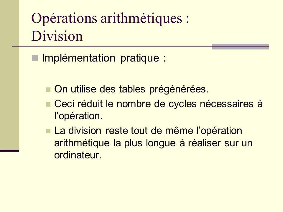 Opérations arithmétiques : Division Implémentation pratique : On utilise des tables prégénérées. Ceci réduit le nombre de cycles nécessaires à lopérat