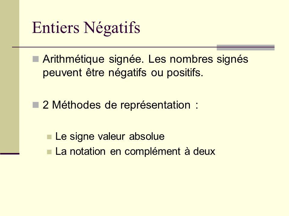 Entiers Négatifs Arithmétique signée. Les nombres signés peuvent être négatifs ou positifs. 2 Méthodes de représentation : Le signe valeur absolue La