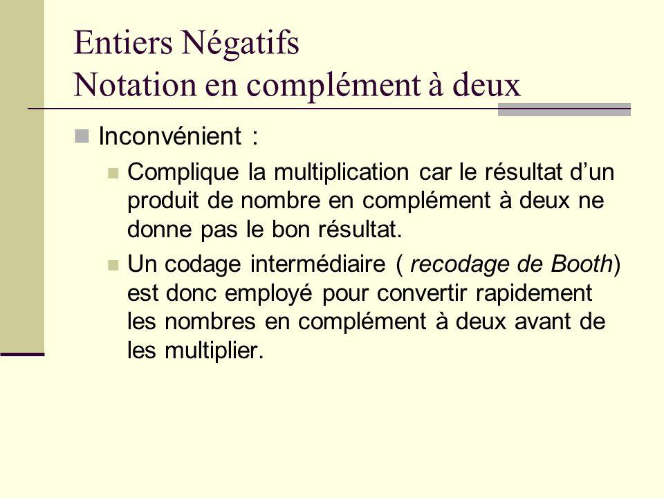 Entiers Négatifs Notation en complément à deux Inconvénient : Complique la multiplication car le résultat dun produit de nombre en complément à deux n