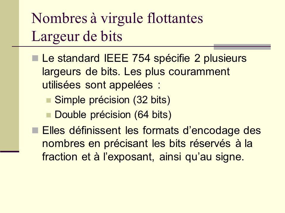 Le standard IEEE 754 spécifie 2 plusieurs largeurs de bits. Les plus couramment utilisées sont appelées : Simple précision (32 bits) Double précision