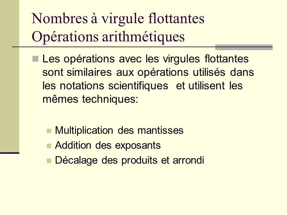 Nombres à virgule flottantes Opérations arithmétiques Les opérations avec les virgules flottantes sont similaires aux opérations utilisés dans les not
