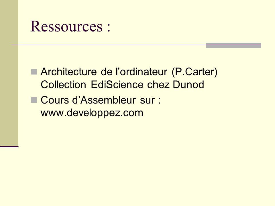 Ressources : Architecture de lordinateur (P.Carter) Collection EdiScience chez Dunod Cours dAssembleur sur : www.developpez.com