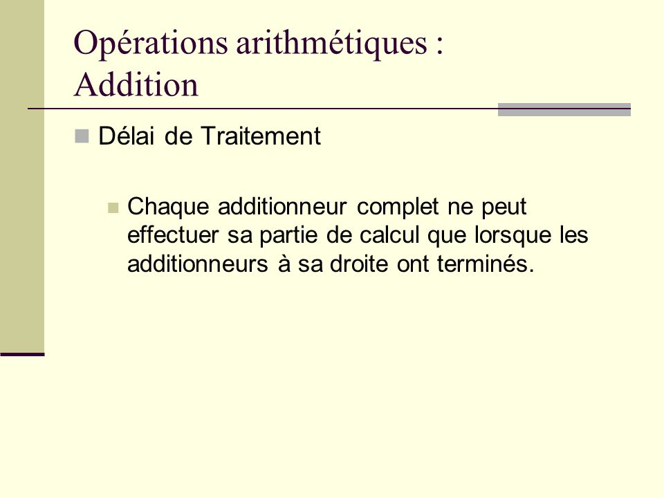 Opérations arithmétiques : Multiplication 1011 x0101 11011 0000 1011 +0000 0110111 Retenue de laddition Exemple de Multiplication Binaire
