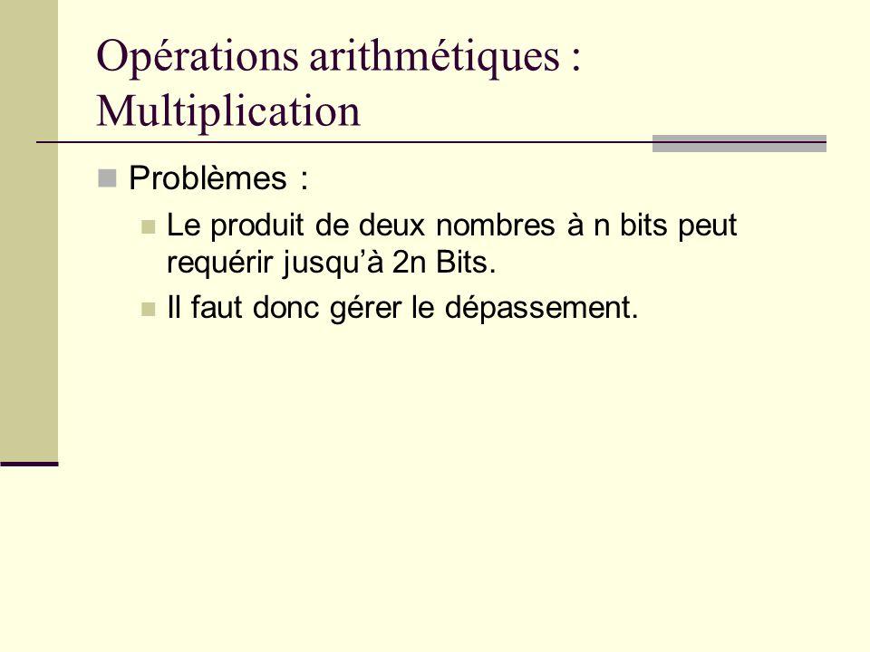 Opérations arithmétiques : Multiplication Problèmes : Le produit de deux nombres à n bits peut requérir jusquà 2n Bits. Il faut donc gérer le dépassem