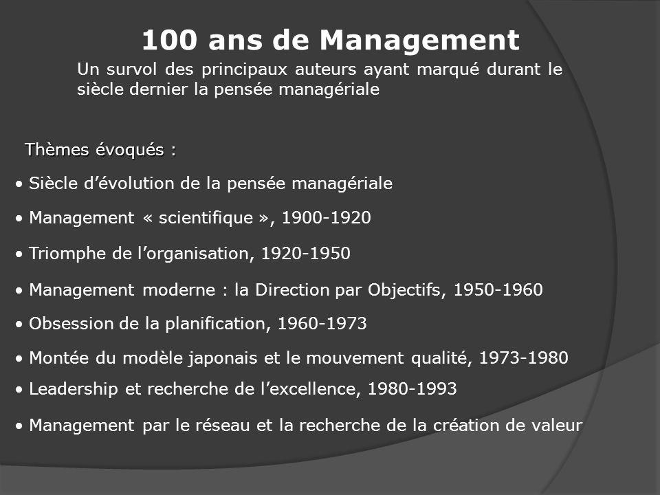 20ème siècle marqué par la succession de courants de pensée (théories, concepts, méthodes, etc.) en management.