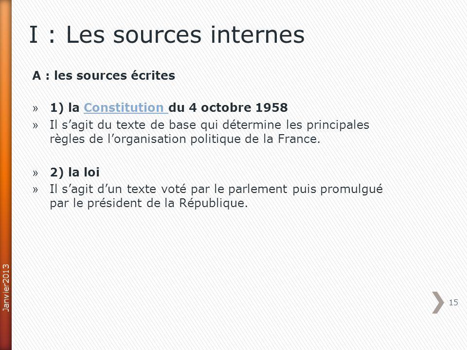 A : les sources écrites » 1) la Constitution du 4 octobre 1958Constitution » Il sagit du texte de base qui détermine les principales règles de lorganisation politique de la France.