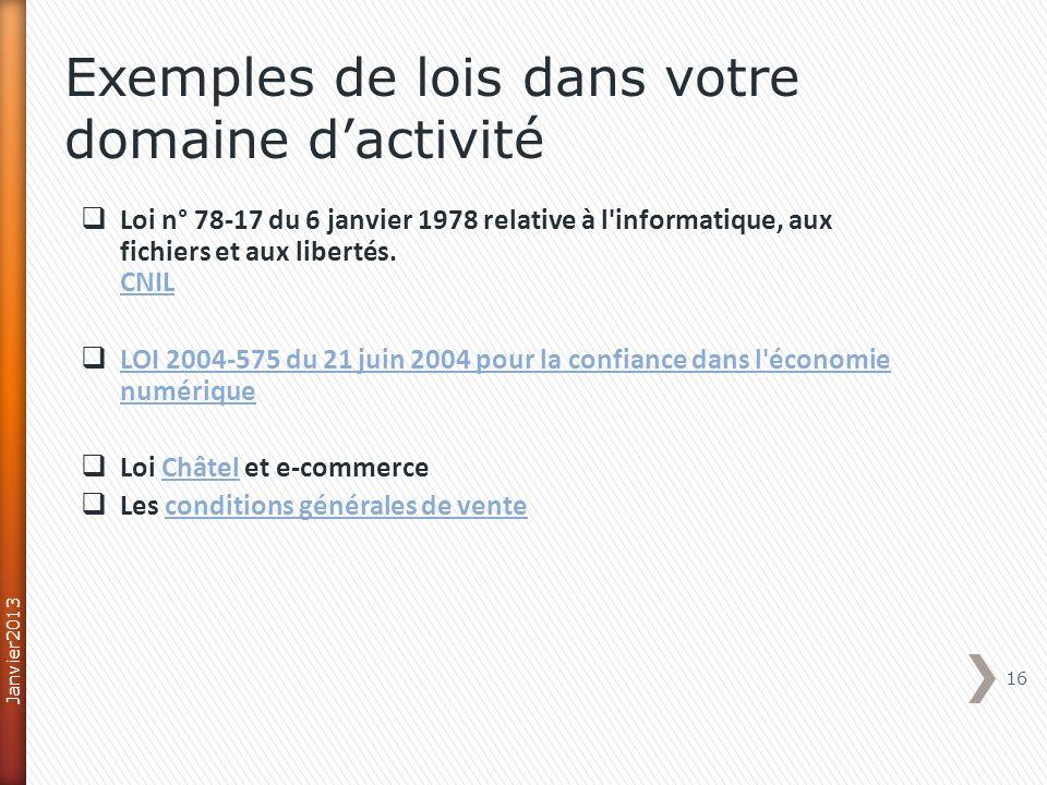 Loi n° 78-17 du 6 janvier 1978 relative à l'informatique, aux fichiers et aux libertés. CNIL CNIL LOI 2004-575 du 21 juin 2004 pour la confiance dans