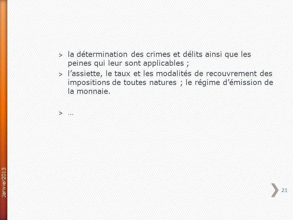 ˃ la détermination des crimes et délits ainsi que les peines qui leur sont applicables ; ˃ lassiette, le taux et les modalités de recouvrement des impositions de toutes natures ; le régime démission de la monnaie.