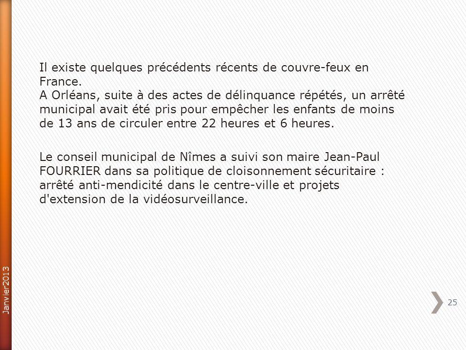 Il existe quelques précédents récents de couvre-feux en France. A Orléans, suite à des actes de délinquance répétés, un arrêté municipal avait été pri