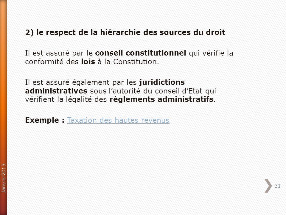 2) le respect de la hiérarchie des sources du droit Il est assuré par le conseil constitutionnel qui vérifie la conformité des lois à la Constitution.