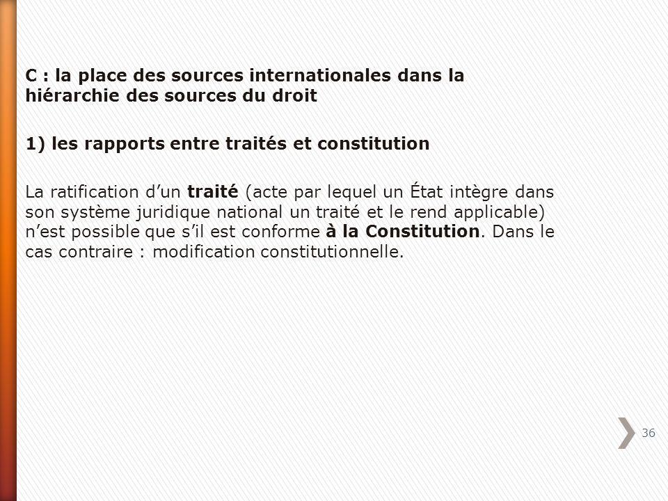 C : la place des sources internationales dans la hiérarchie des sources du droit 1) les rapports entre traités et constitution La ratification dun tra
