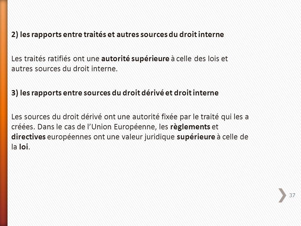 2) les rapports entre traités et autres sources du droit interne Les traités ratifiés ont une autorité supérieure à celle des lois et autres sources d
