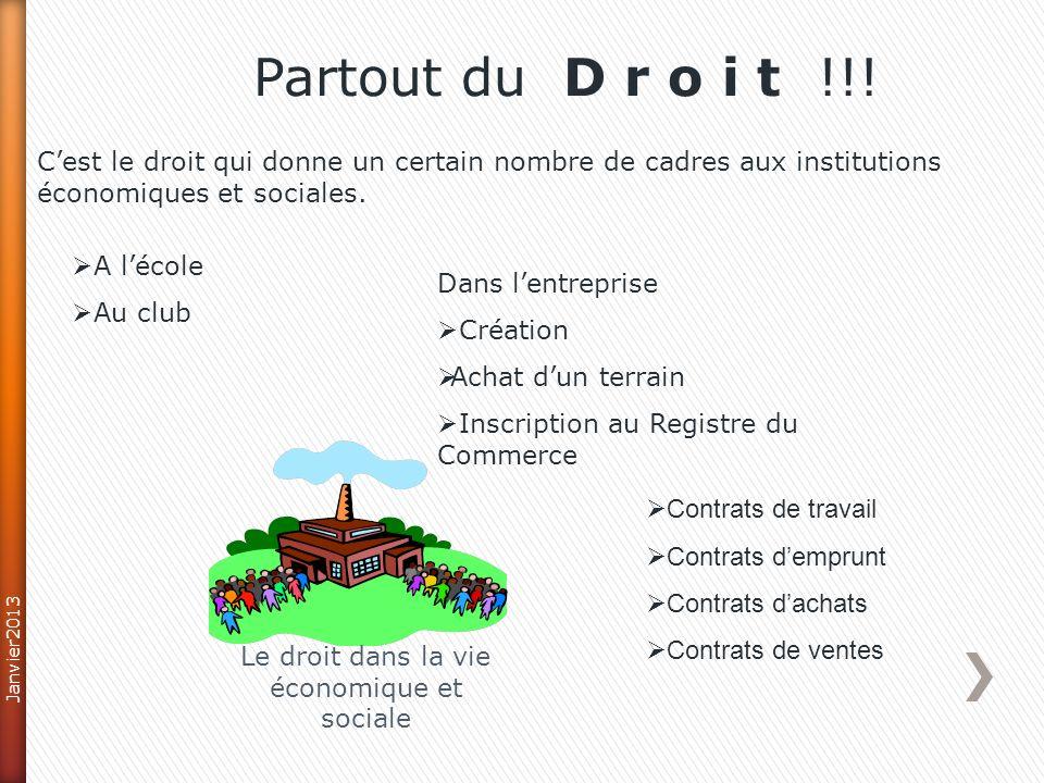 Dans votre domaine dactivité (Internet et multimédia…) : Partout du D r o i t !!! Janvier2013