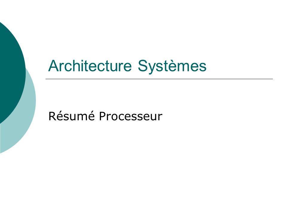 Architecture Systèmes Résumé Processeur